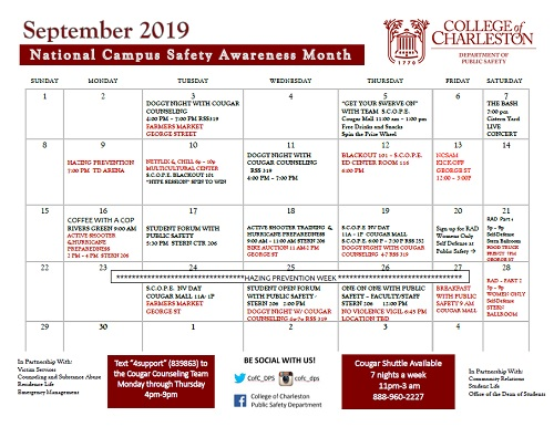 National Campus Safety Awareness Month Calendar of Events